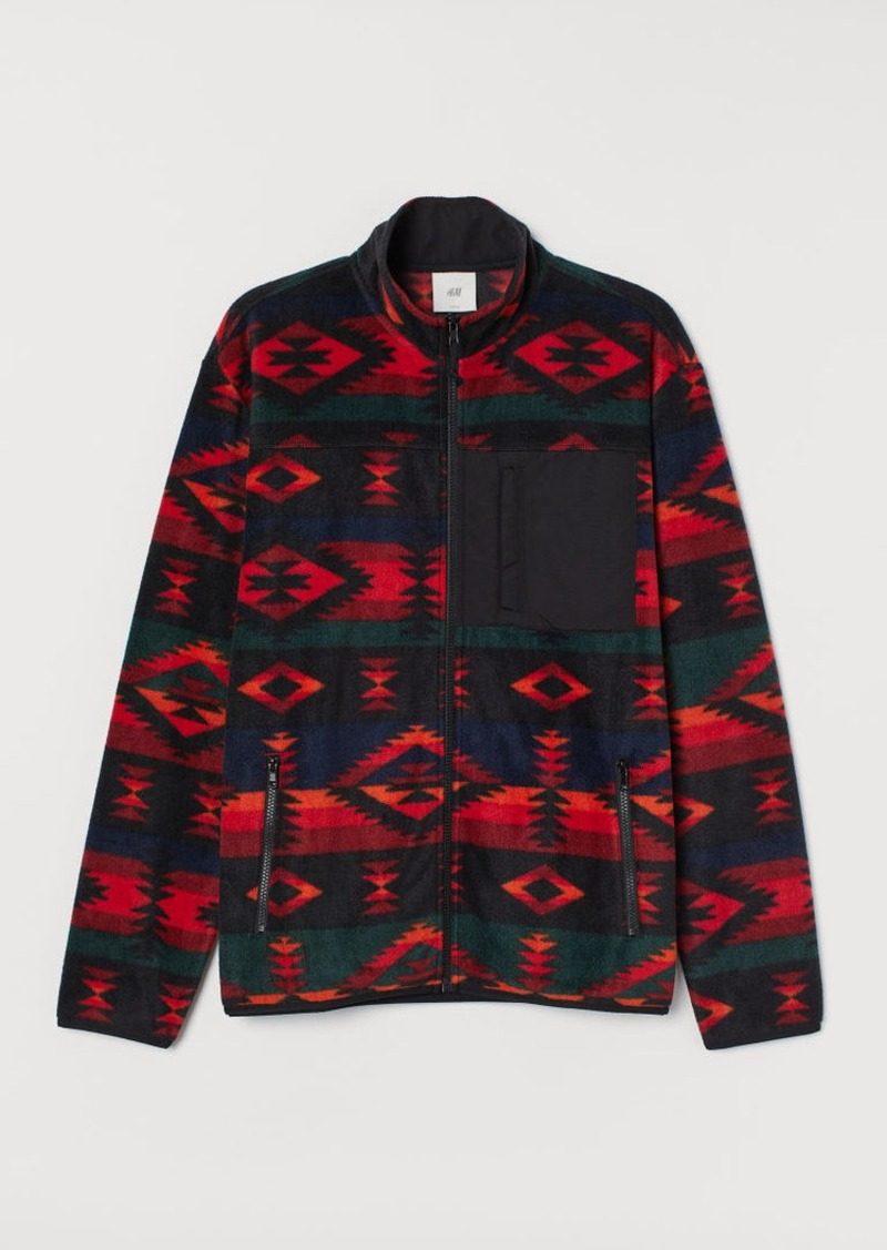 H&M H & M - Patterned Fleece Shirt - Black