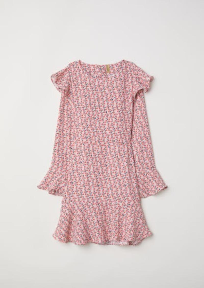 H&M H & M - Patterned Flounced Dress - Pink