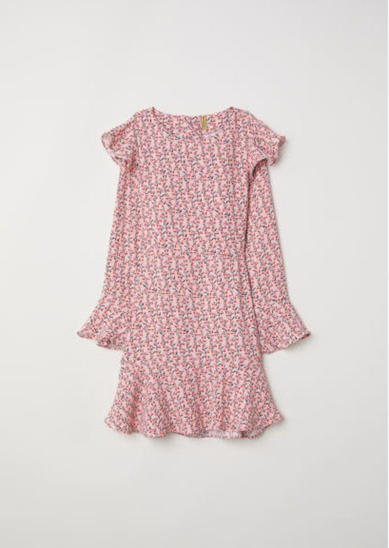 H&M H & M - Patterned Flounced Dress - Pink
