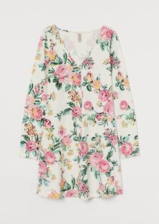 H&M H & M - Patterned Jersey Dress - White