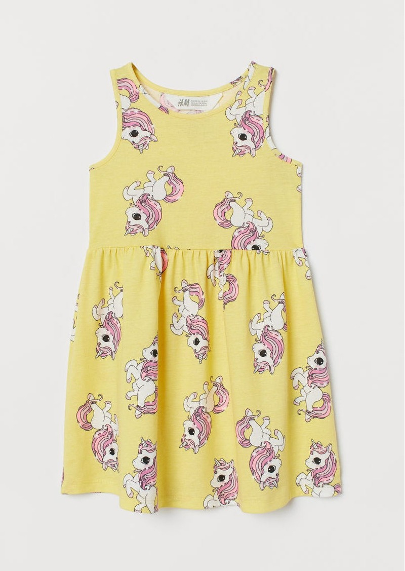 H&M H & M - Patterned Jersey Dress - Yellow