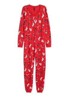 H&M H & M - Patterned Jersey Jumpsuit - Red