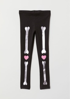 H&M H & M - Patterned Jersey Leggings - Black