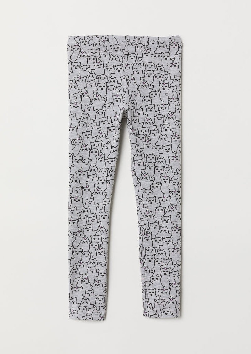 H&M H & M - Patterned Jersey Leggings - Gray