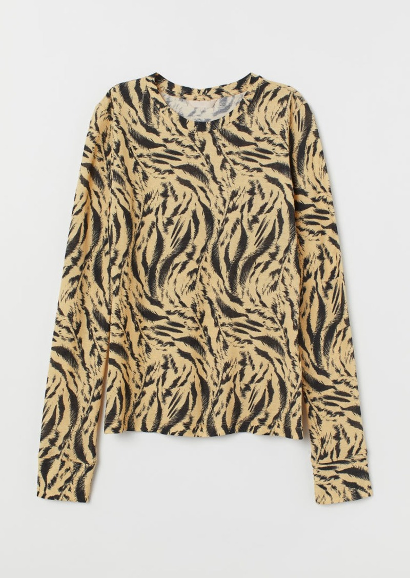 H&M H & M - Patterned Jersey Top - Yellow