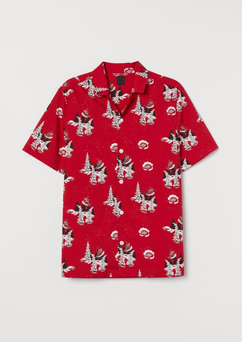 H&M H & M - Patterned Resort Shirt - Red
