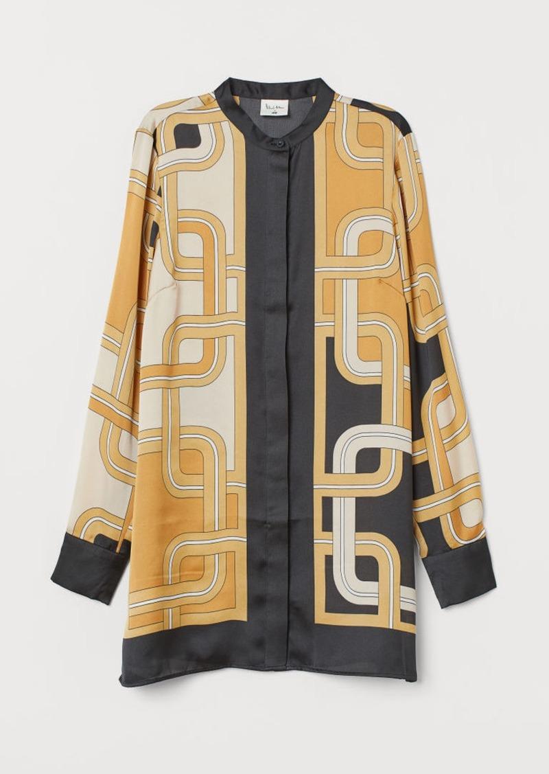 H&M H & M - Patterned Satin Blouse - Beige