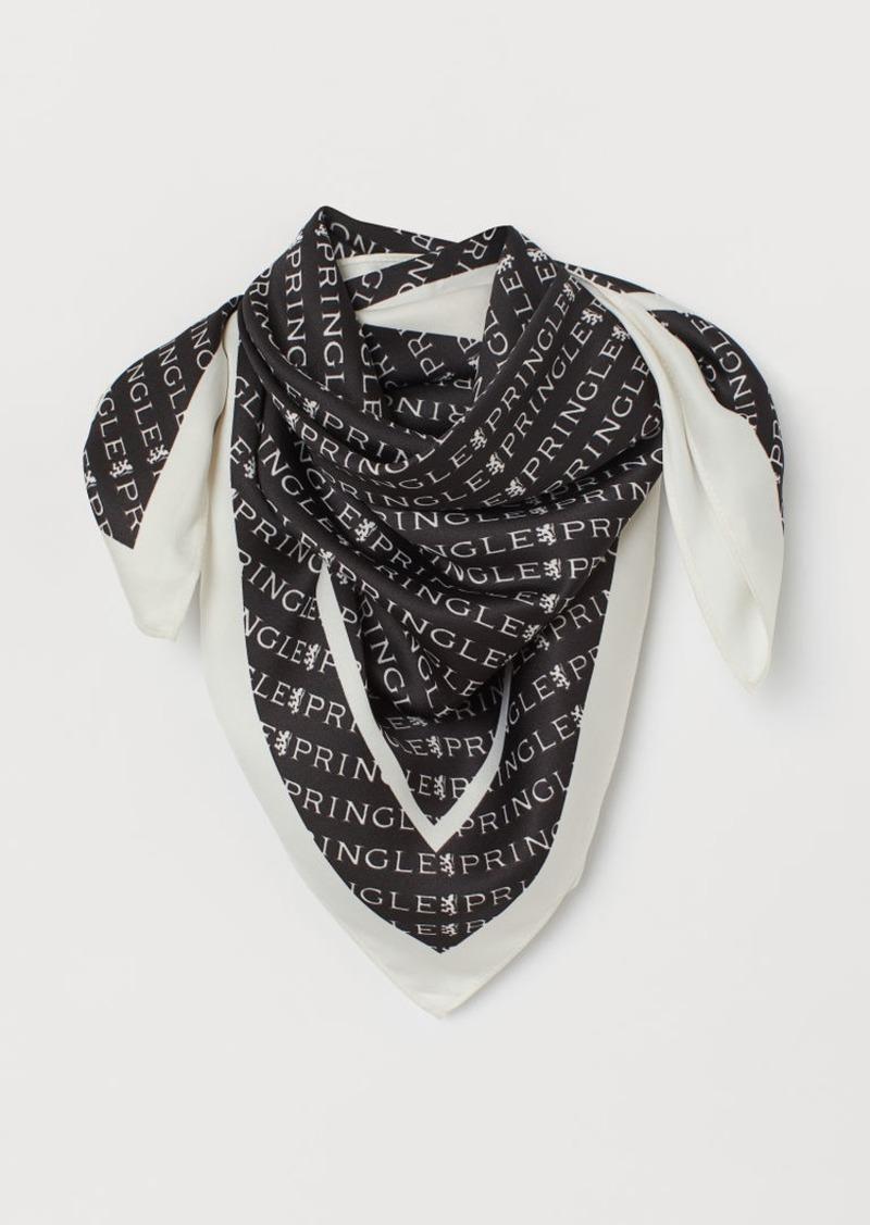 H & M - Patterned Satin Scarf - Black