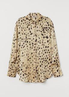 H&M H & M - Patterned Silk Shirt - Beige