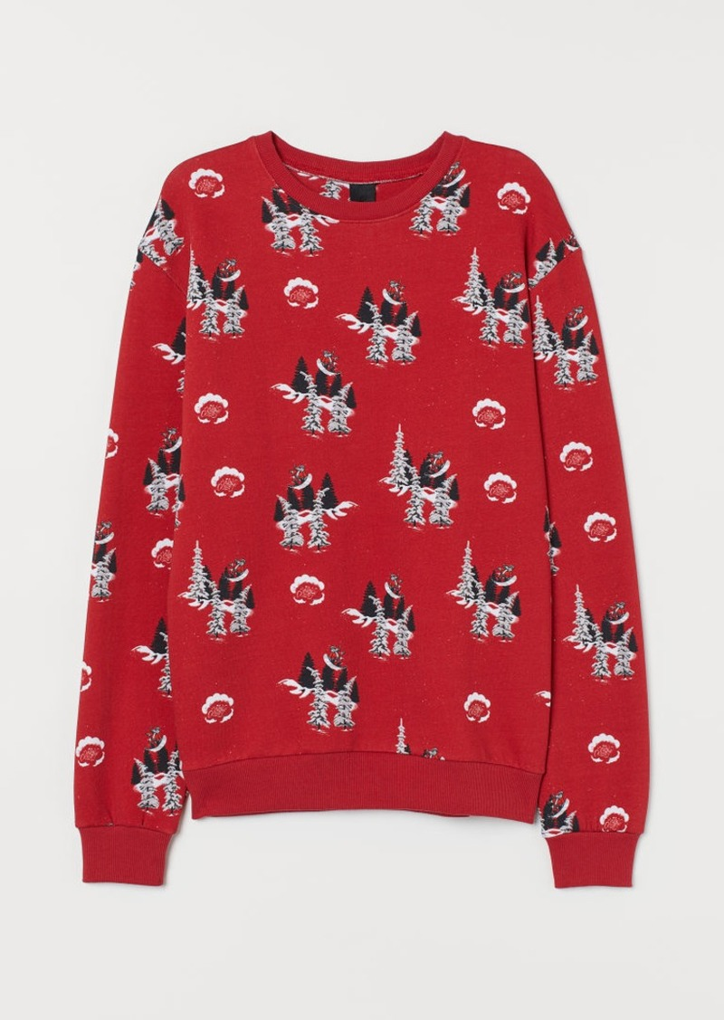 H&M H & M - Patterned Sweatshirt - Red
