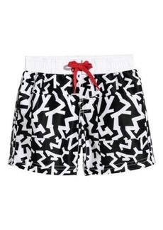 H&M H & M - Patterned Swim Shorts - Black