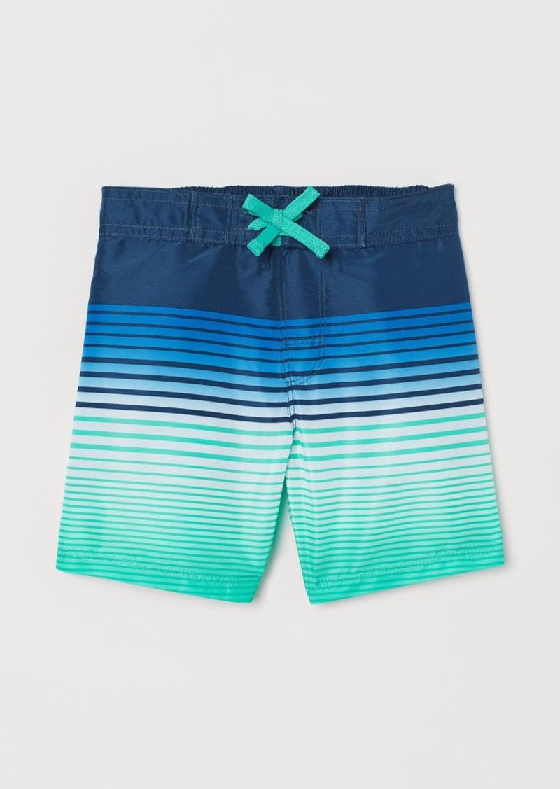 H&M H & M - Patterned Swim Shorts - Green