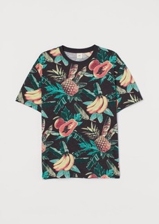 H&M H & M - Patterned T-shirt - Black