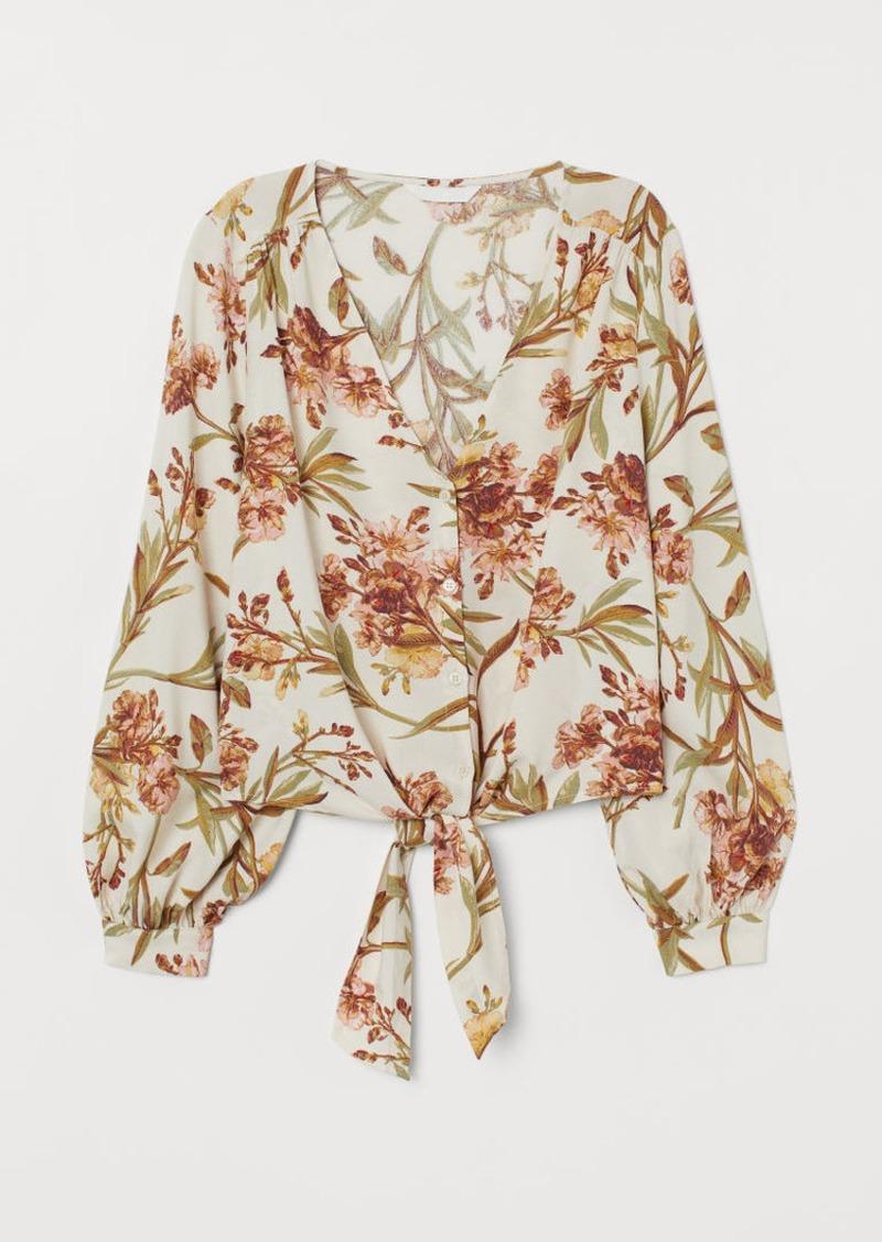 H&M H & M - Patterned Tie-hem Blouse - Beige