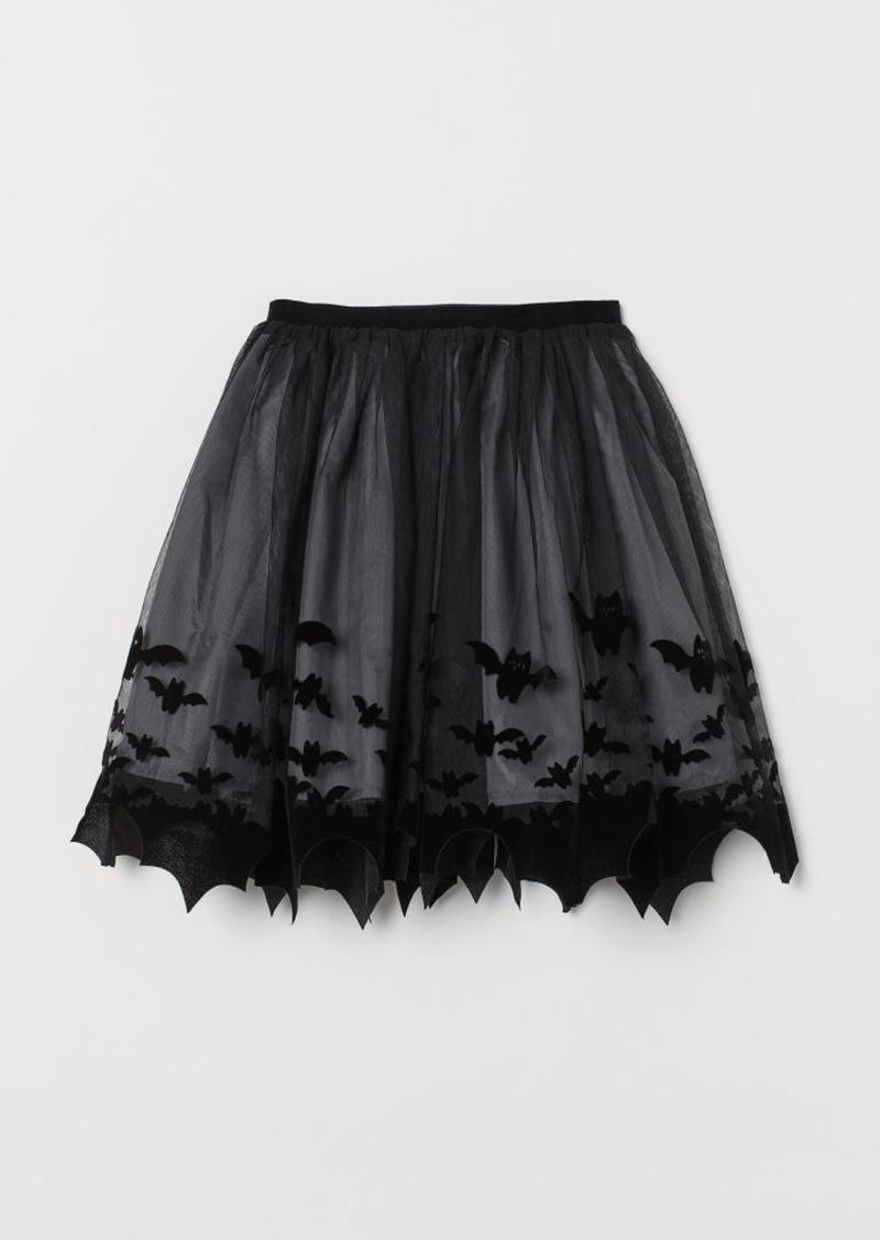 H&M H & M - Patterned Tulle Skirt - Black