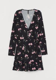 H&M H & M - Patterned Wrap-front Dress - Black