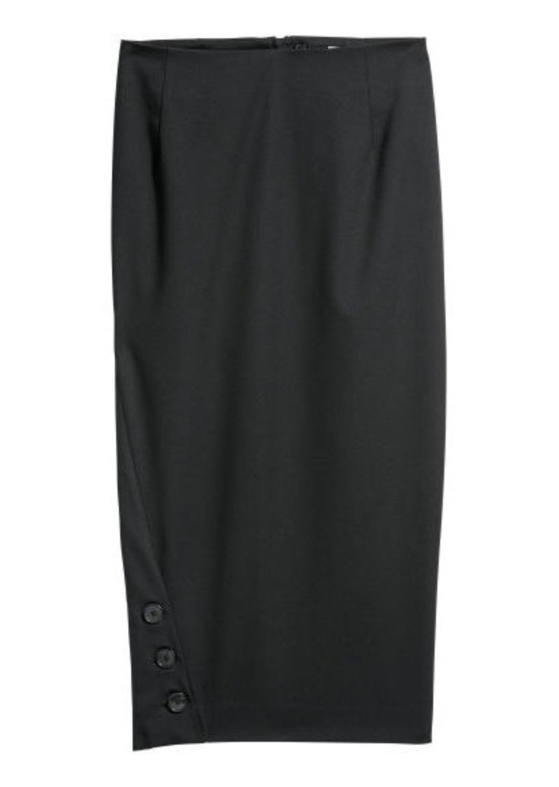 758eb8c6ec43 H&M H & M - Pencil Skirt with Buttons - Black Now $14.99