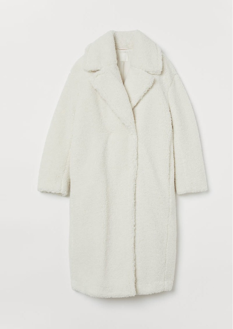 H&M H & M - Faux Shearling Coat - White