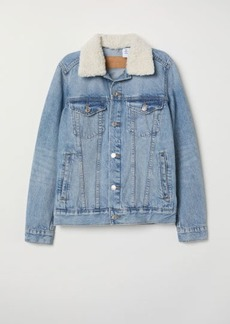 H&M H & M - Pile-collar Denim Jacket - Blue