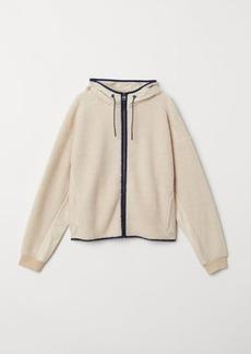 H&M H & M - Pile Hooded Jacket - Beige