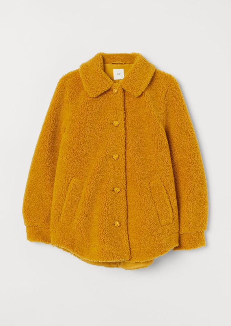 H&M H & M - Faux Shearling Jacket - Yellow