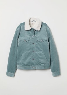 H&M H & M - Pile-lined Corduroy Jacket - Turquoise