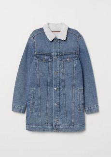 H&M H & M - Pile-lined Denim Jacket - Blue