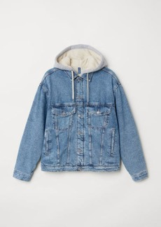 H&M H & M - Pile-lined Denim Jacket - Blue