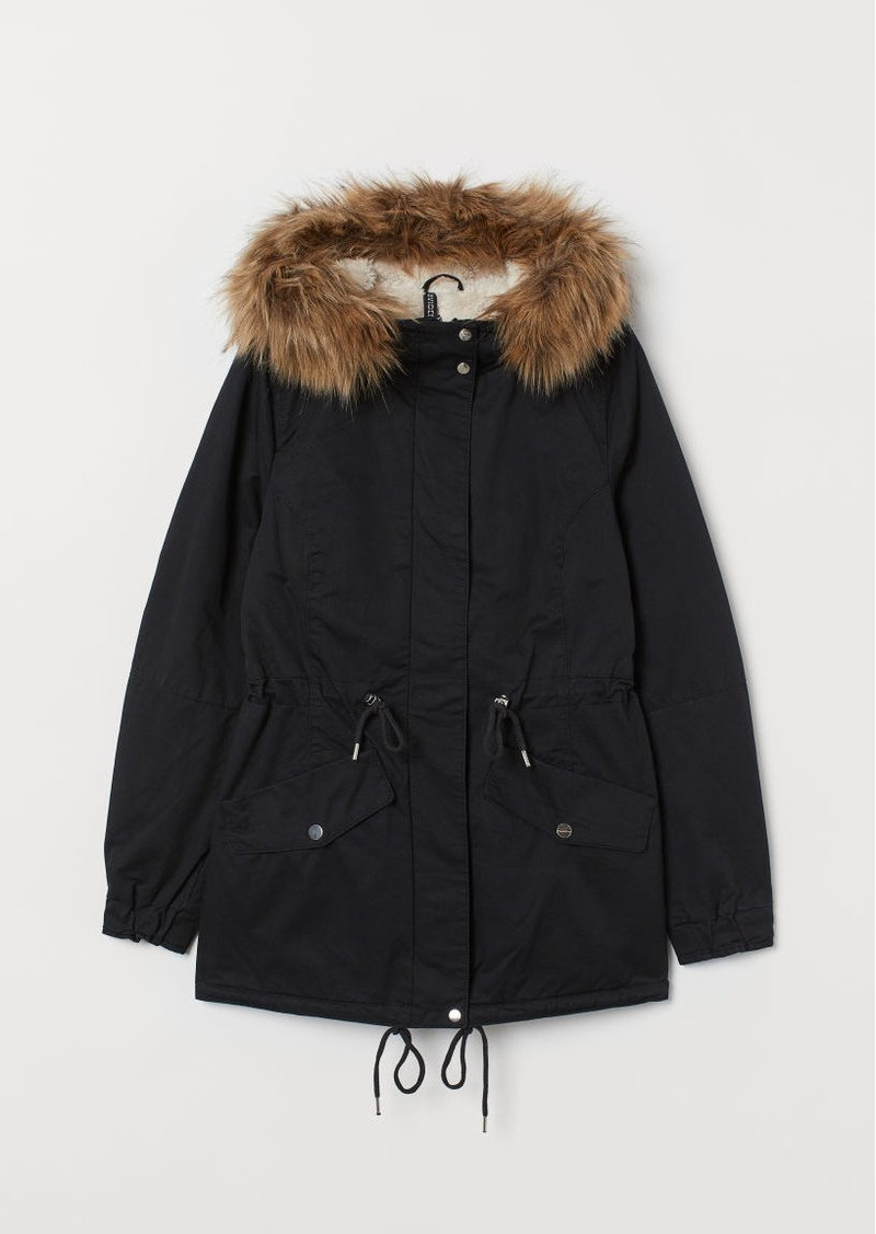 H&M H & M - Faux Shearling-lined Parka - Black