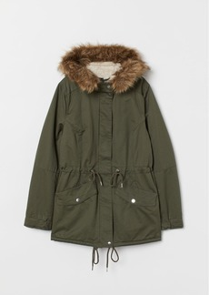 H&M H & M - Faux Shearling-lined Parka - Green