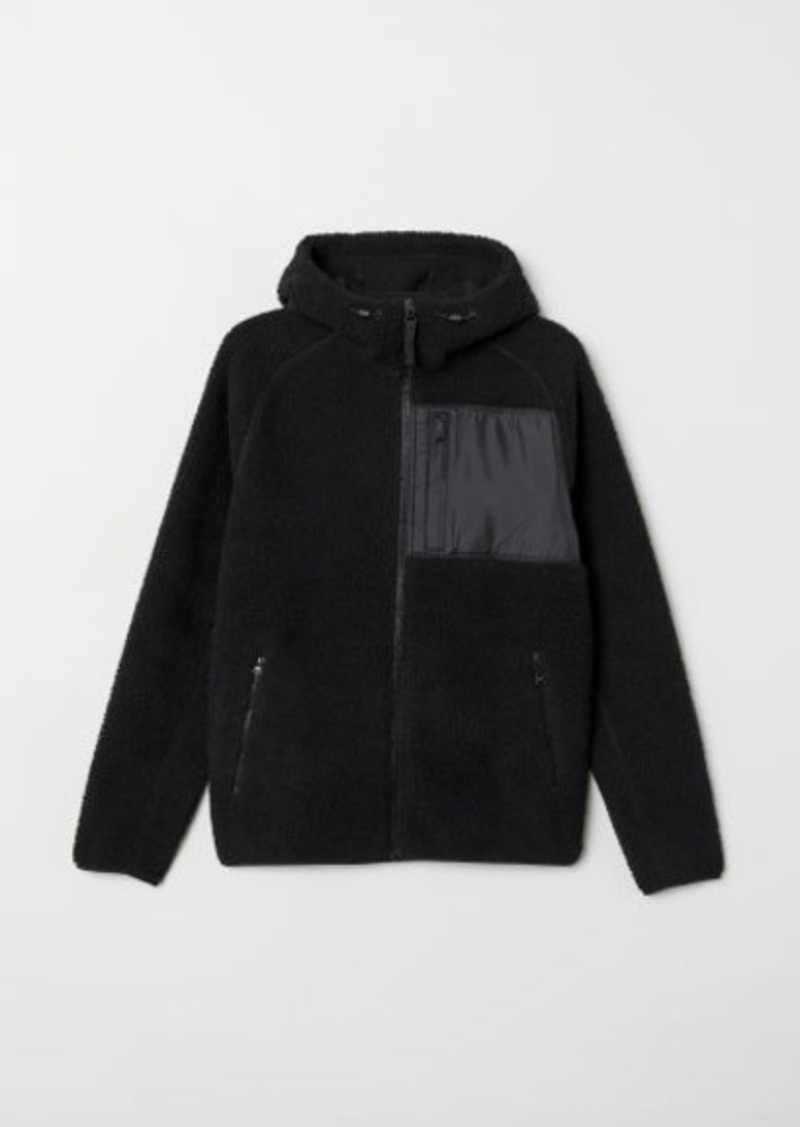 H&M H & M - Faux Shearling Hooded Jacket - Black