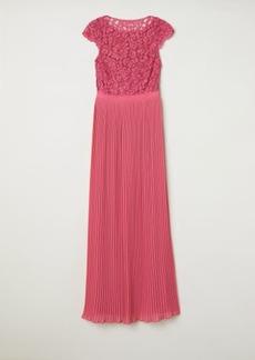 H&M H & M - Pleated Long Dress - Pink