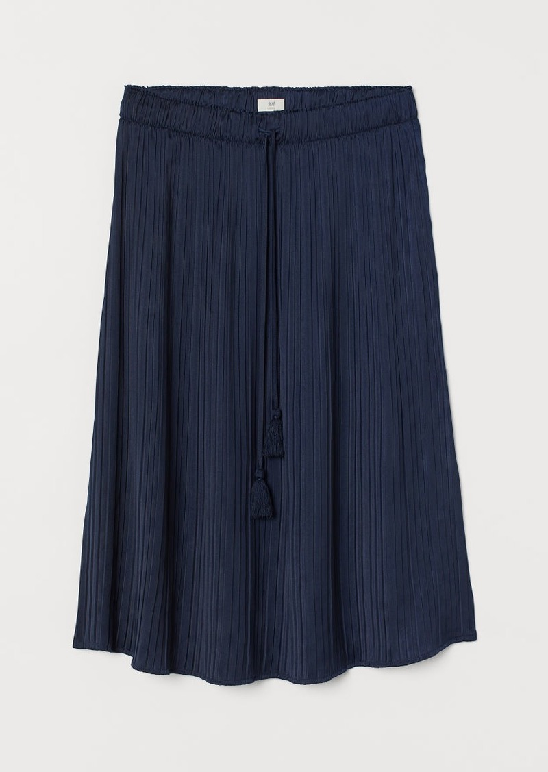 H&M H & M - Pleated Satin Skirt - Blue