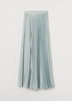 H&M H & M - Pleated Satin Skirt - Turquoise