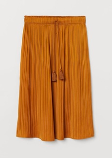 H&M H & M - Pleated Satin Skirt - Yellow