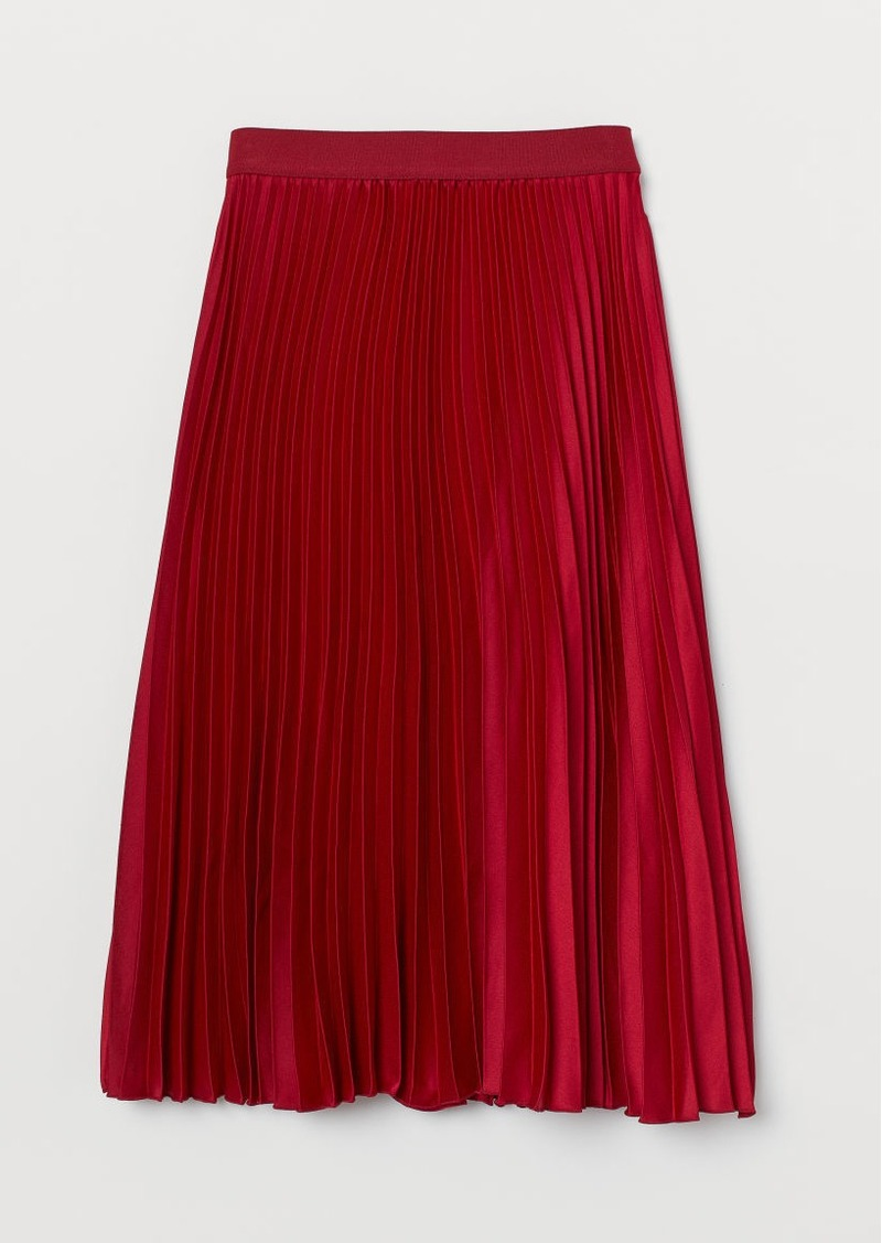 H&M H & M - Pleated Skirt - Red