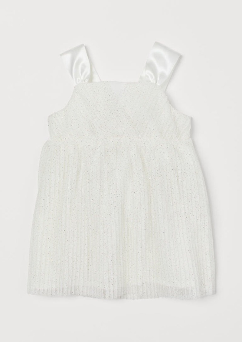 H&M H & M - Pleated Tulle Dress - White