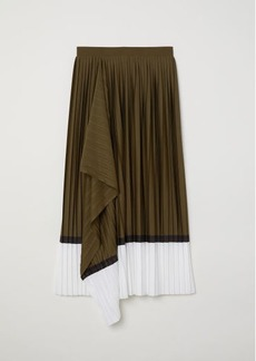 H&M H & M - Pleated Wrap-front Skirt - Green