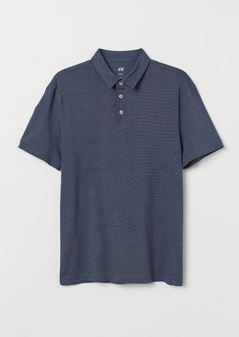 H&M H & M - Slim Fit Polo Shirt - Blue