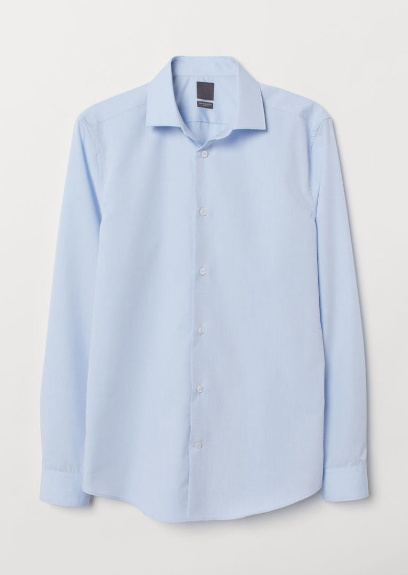 H&M H & M - Premium Cotton Poplin Shirt - Blue
