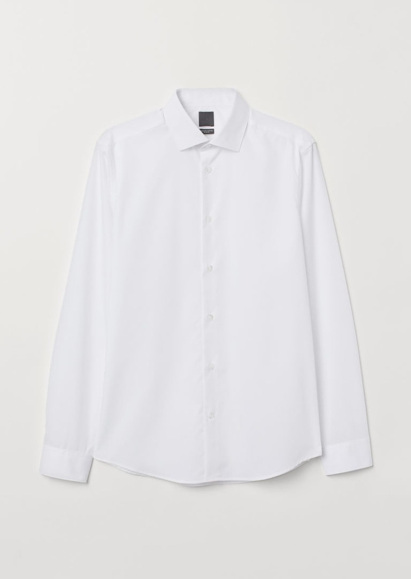 H&M H & M - Premium Cotton Poplin Shirt - White