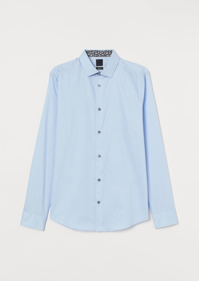H&M H & M - Premium Cotton Shirt - Blue