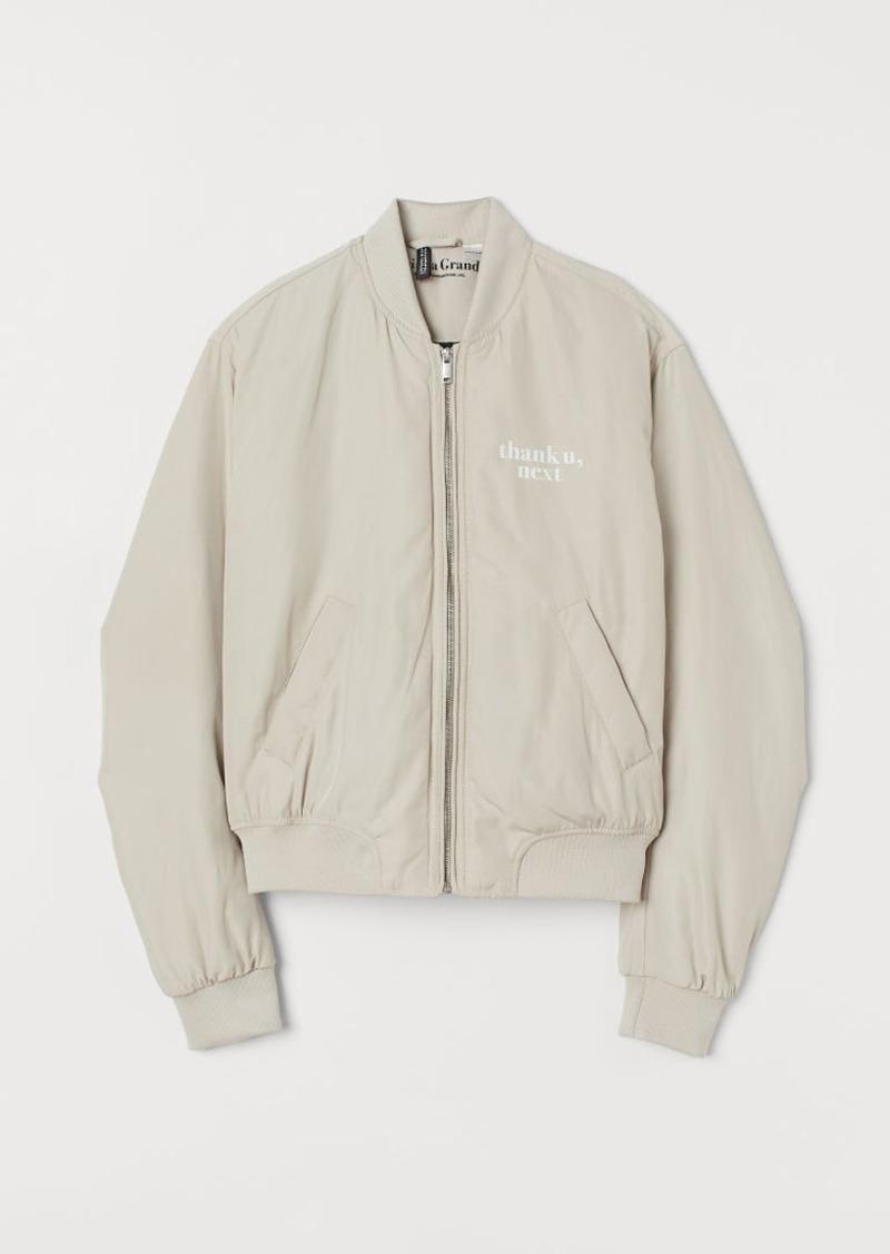 H&M H & M - Printed Bomber Jacket - Beige