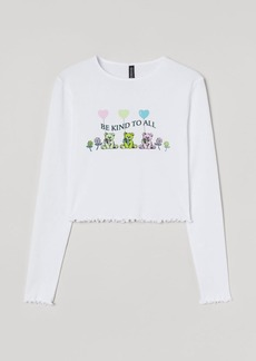 H&M H & M - Printed Cropped Top - White
