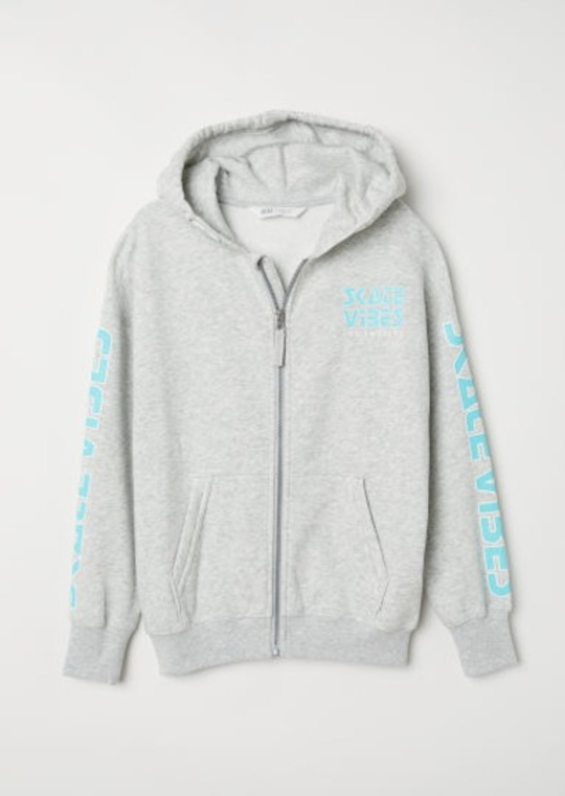 H&M H & M - Printed Hooded Jacket - Gray