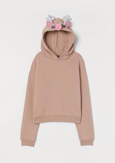 H&M H & M - Printed Hoodie - Beige