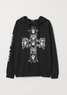 H&M H & M - Printed Hooded Sweatshirt - Black