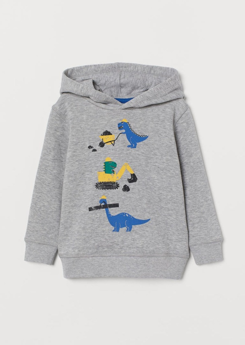H&M H & M - Printed Hoodie - Gray