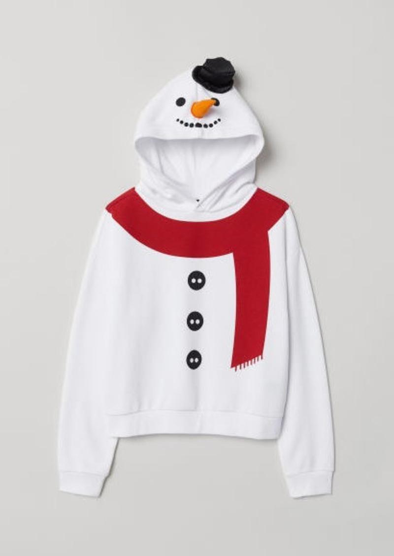 H&M H & M - Printed Hoodie - White