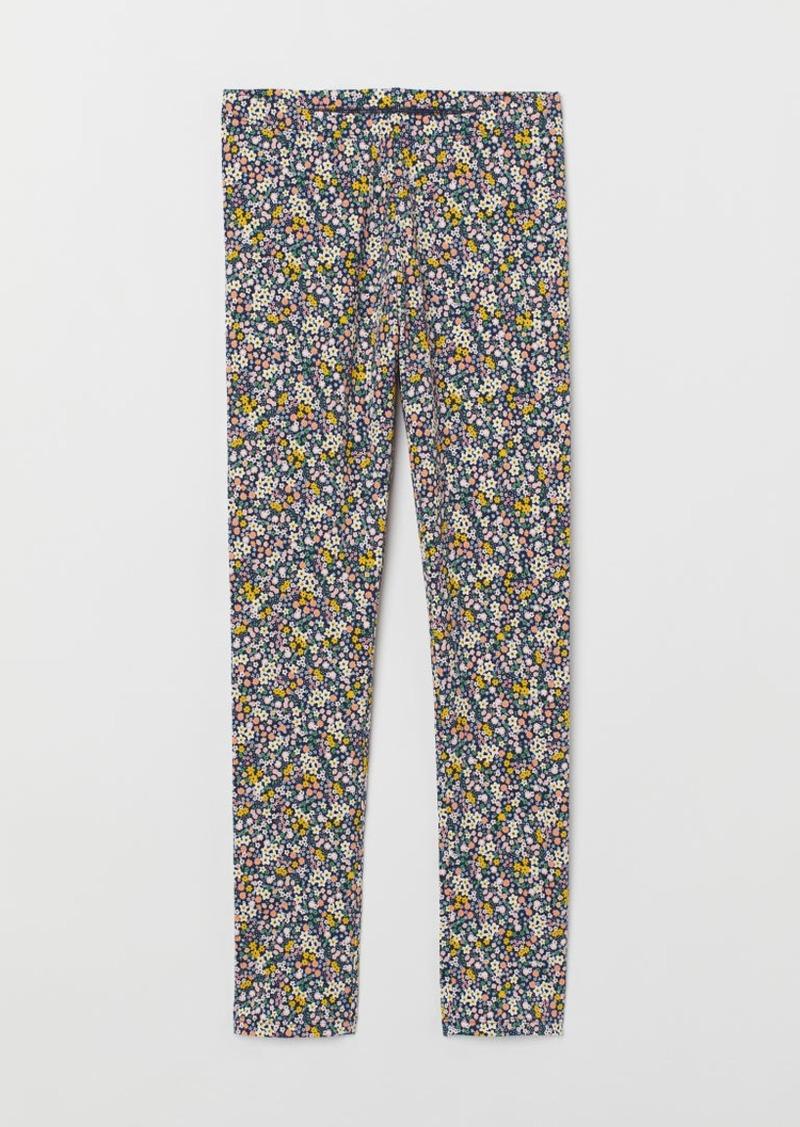 H&M H & M - Printed Jersey Leggings - Blue